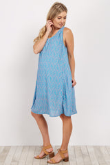 Blue Diamond Print Chiffon Maternity Dress