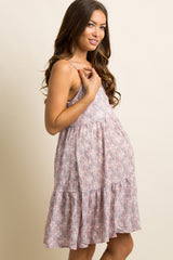 Pink Printed Tiered Maternity Dress