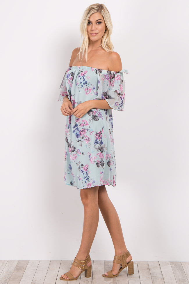 Light Blue Floral Chiffon Off Shoulder Maternity Dress