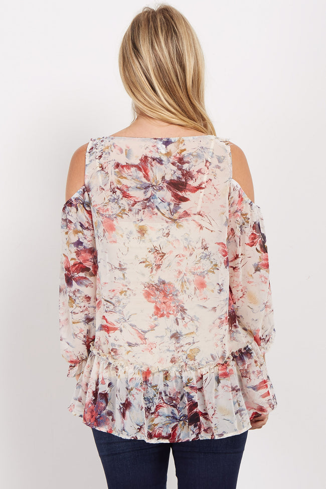 Ivory Floral Chiffon Cold Shoulder Maternity Top