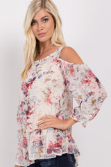 Ivory Floral Chiffon Cold Shoulder Top