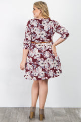 Burgundy Floral Print Belted Plus Maternity Dress
