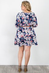 Navy Blue Floral Print Belted Plus Maternity Dress