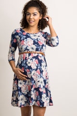 Navy Blue Floral Print Belted Maternity Dress