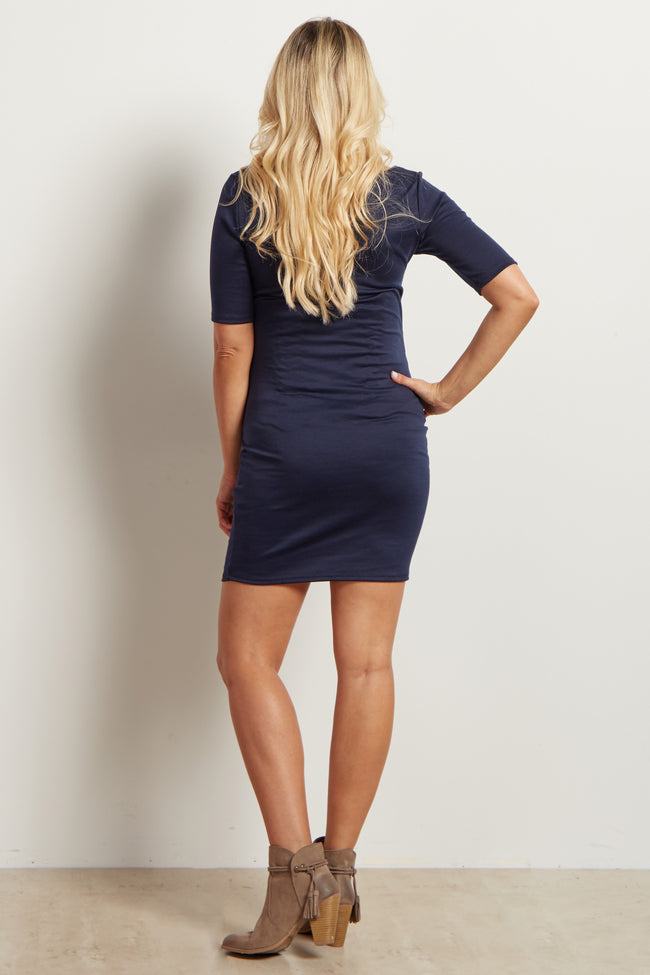 Tall Navy Solid Fitted Maternity Dress