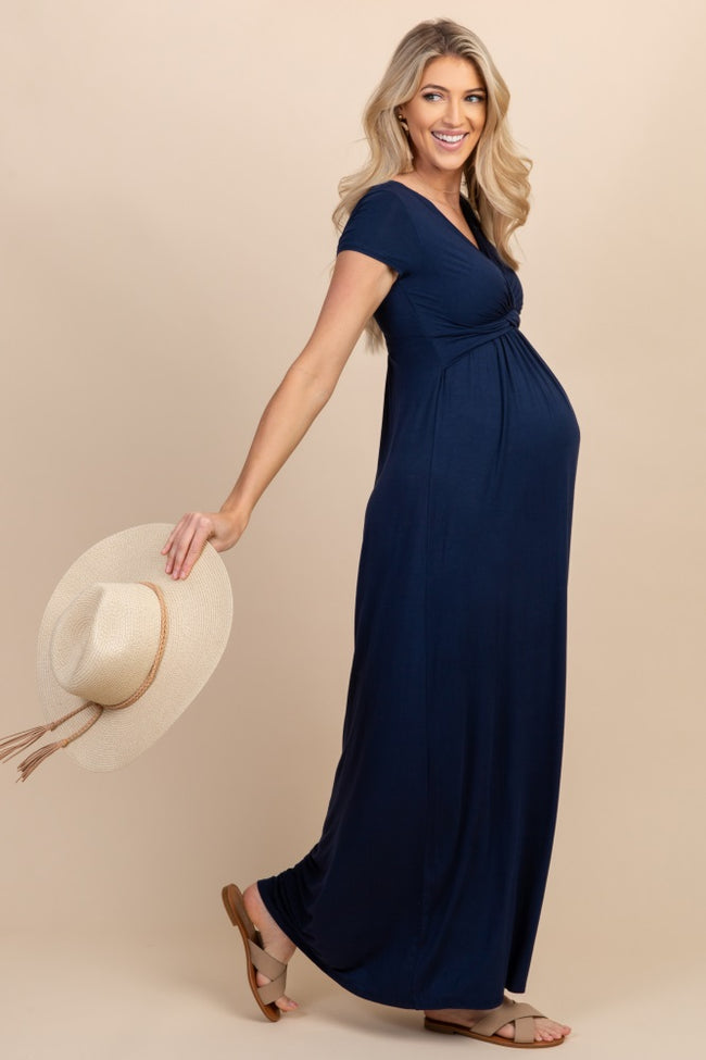 Tall Navy Draped Maternity/Nursing Maxi Dress