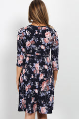 Navy Rose Floral Maternity Wrap Dress