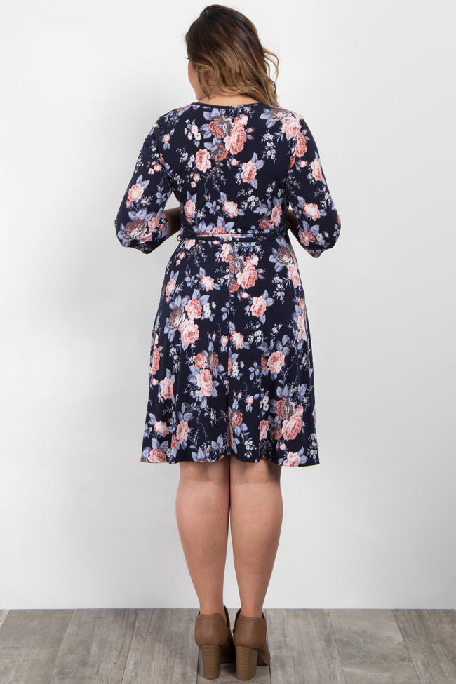 Navy Rose Floral Plus Maternity Wrap Dress