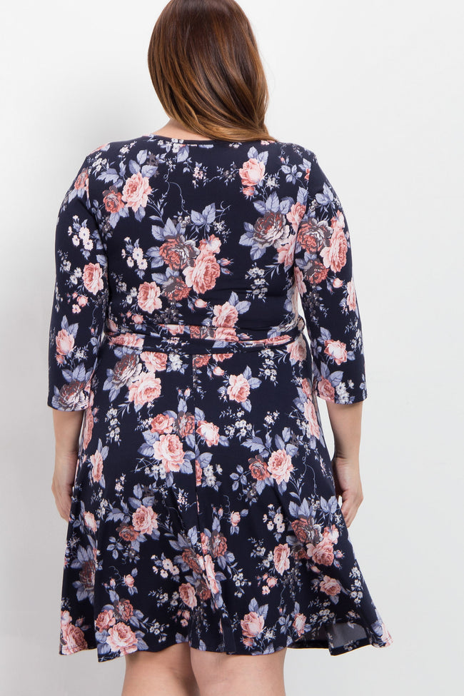 Navy Blue Rose Floral Plus Wrap Dress