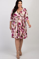 PinkBlush Pink Floral Print Plus Wrap Nursing  Dress