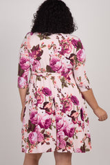 PinkBlush Pink Floral Print Plus Maternity Wrap Nursing Dress