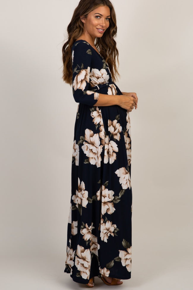 Navy Floral Maternity/Nursing Wrap Dress