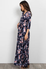 Navy Rose Floral Maternity Wrap Maxi Dress