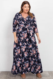 Navy Blue Rose Floral Plus Wrap Maxi Dress