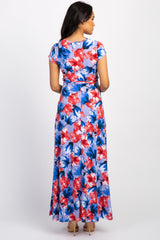 Lavender Floral Short Sleeve Maternity/Nursing Wrap Maxi Dress