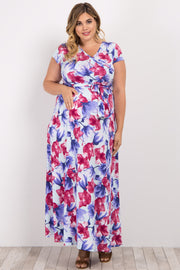 Pink Floral Short Sleeve Plus Maternity/Nursing Wrap Maxi Dress