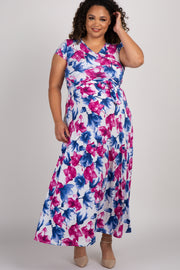 White Floral Short Sleeve Plus Maternity/Nursing Wrap Maxi Dress