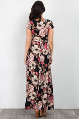 Black Floral Short Sleeve Wrap Maxi Dress