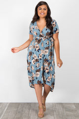Blue Floral Sash Tie Hi-Low Plus Dress