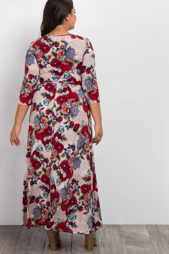 Taupe Vintage Floral Plus Wrap Maxi Dress