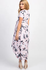 Pink Floral Hi-Low Maternity Wrap Dress
