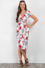 White Floral Hi-Low Wrap Dress