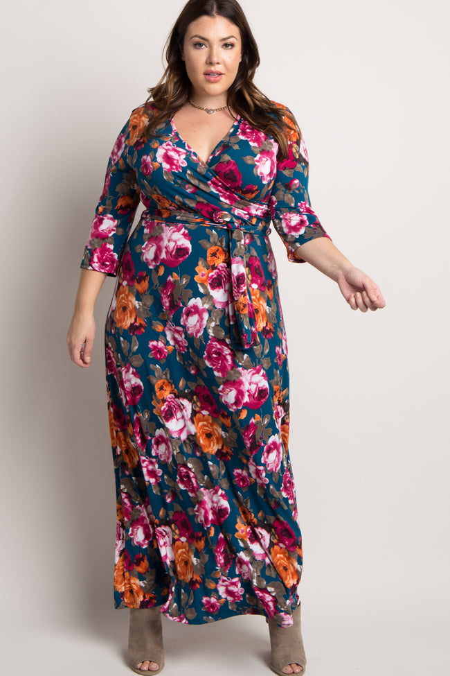Teal Floral Print Plus Wrap Maxi Dress