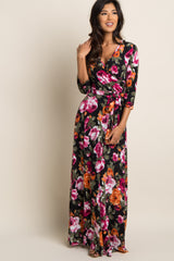 Black Floral Print Maternity/Nursing Wrap Maxi Dress