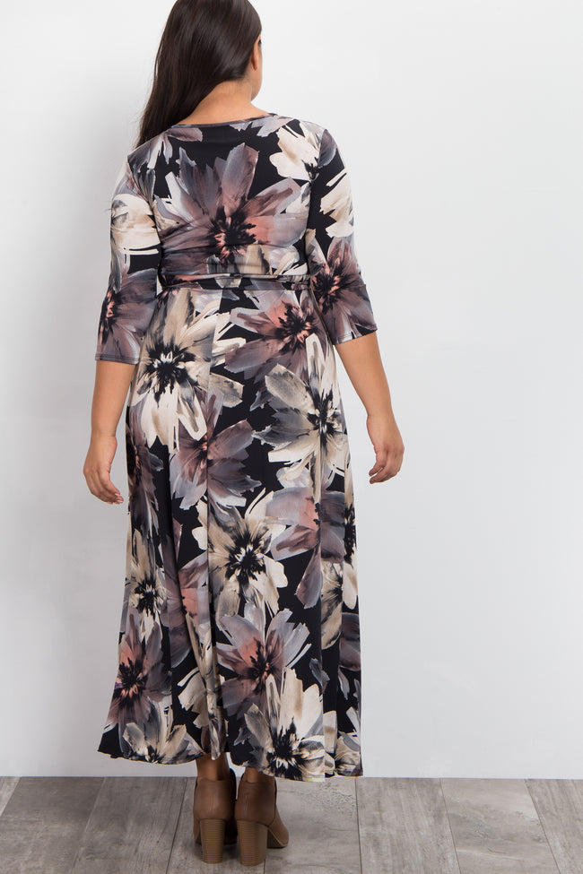 Black Floral Draped 3/4 Sleeve Plus Maxi Dress