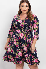 Navy Floral Plus Maternity/Nursing Wrap Dress