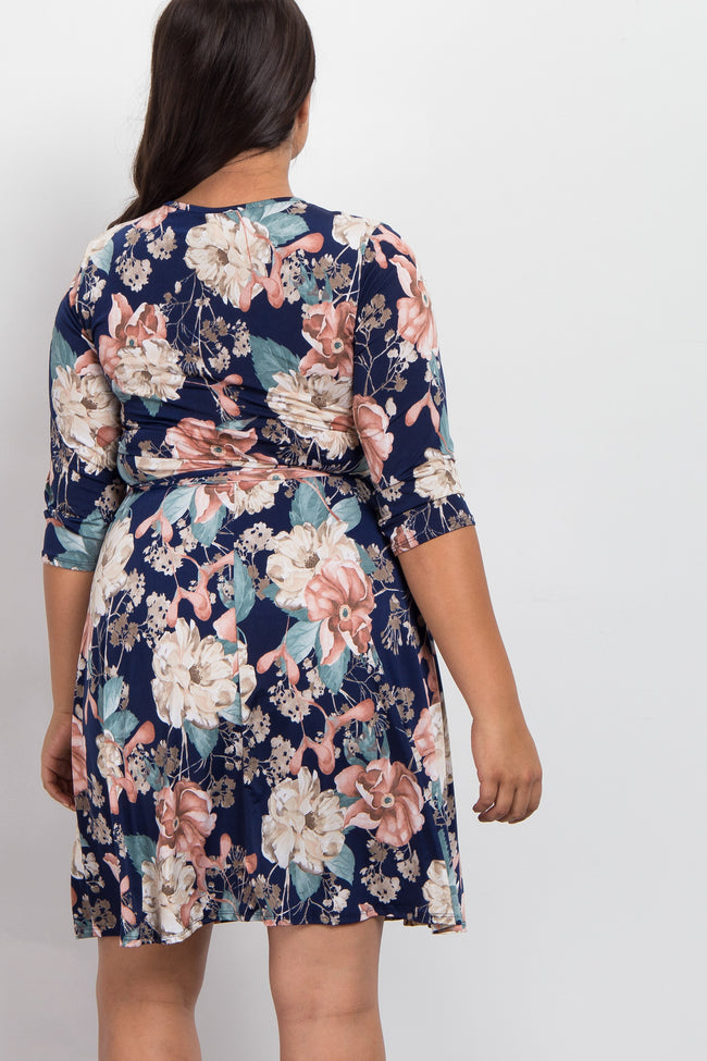 Navy Blue Floral Print Plus Wrap Dress