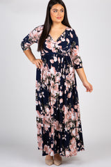 Navy Blue Floral Plus Nursing Wrap Maxi Dress