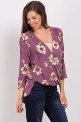 Plum Floral Cuffed Sleeve Wrap Top