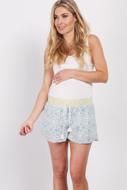 Light Blue Printed Tassel Tie Accent Maternity Shorts