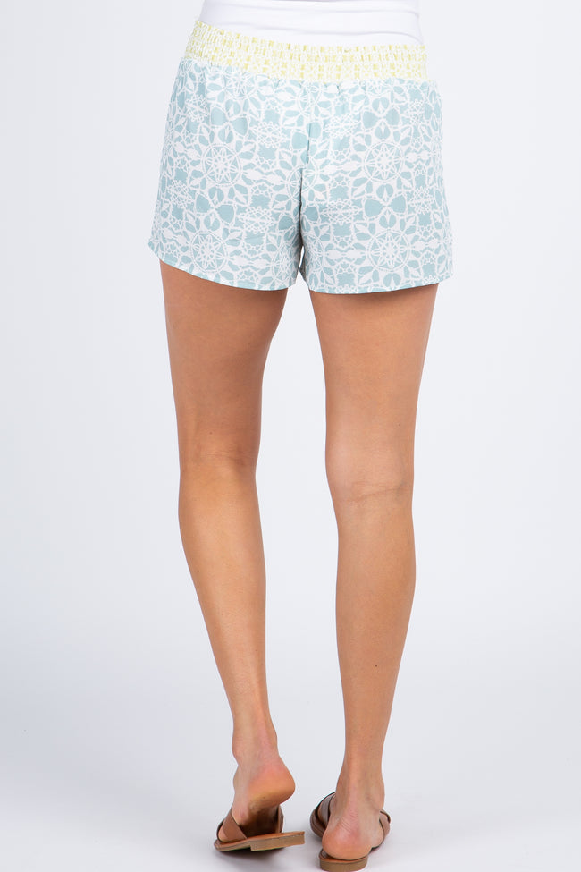 Light Blue Printed Tassel Tie Accent Shorts