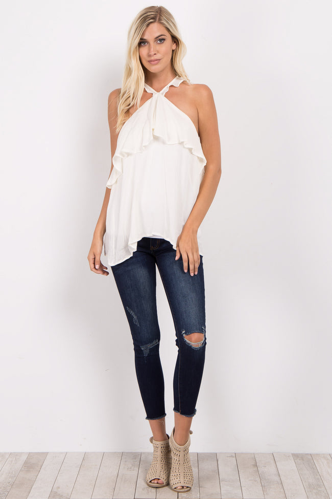Ivory Open Shoulder High Neck Ruffle Top