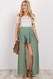 Green Chiffon Overlay Maternity Shorts