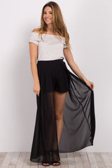 Black Chiffon Overlay Maternity Shorts