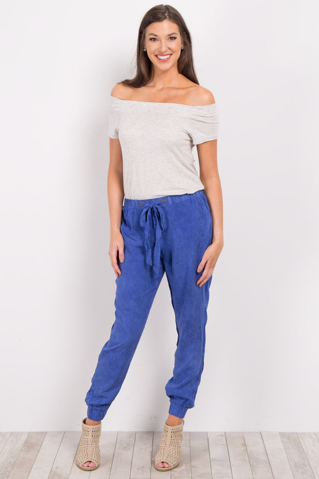 Royal Blue Faded Drawstring Jogger Pants