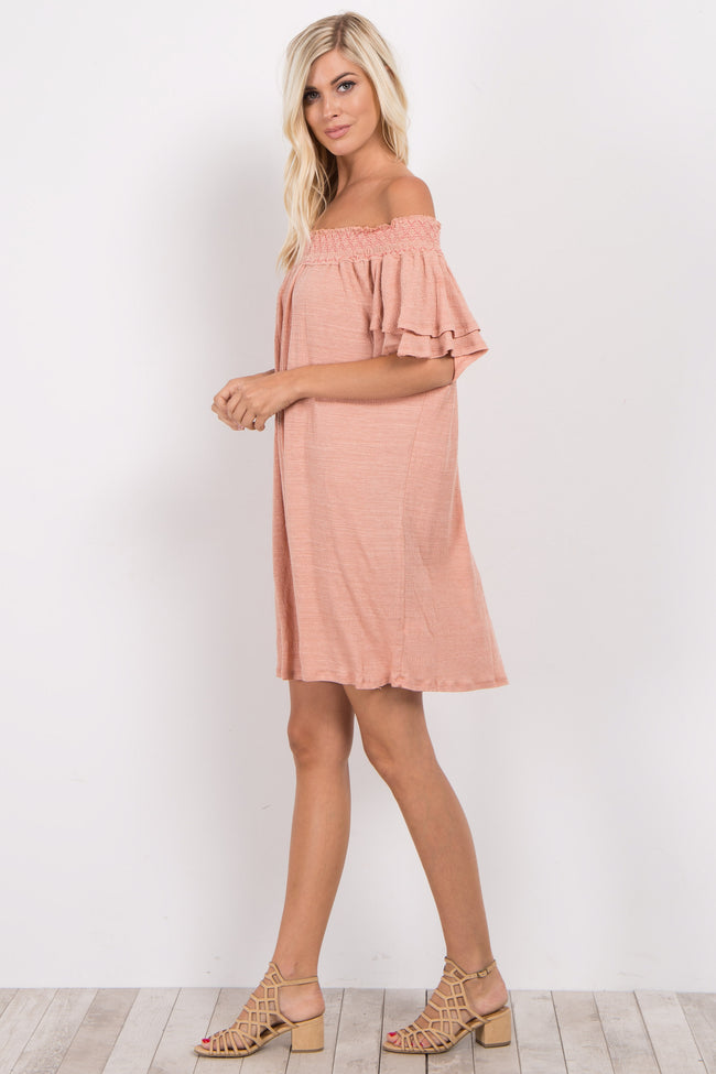 Peach Faded Off Shoulder Dress