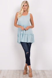 Light Blue Sleeveless Tiered Top