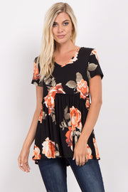 Black Floral Print Peplum Top