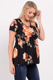 Black Floral Print Peplum Maternity Top