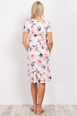 Ivory Floral Ruffle Trim Maternity Midi Dress