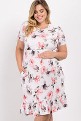 Ivory Floral Ruffle Trim Plus Maternity Midi Dress