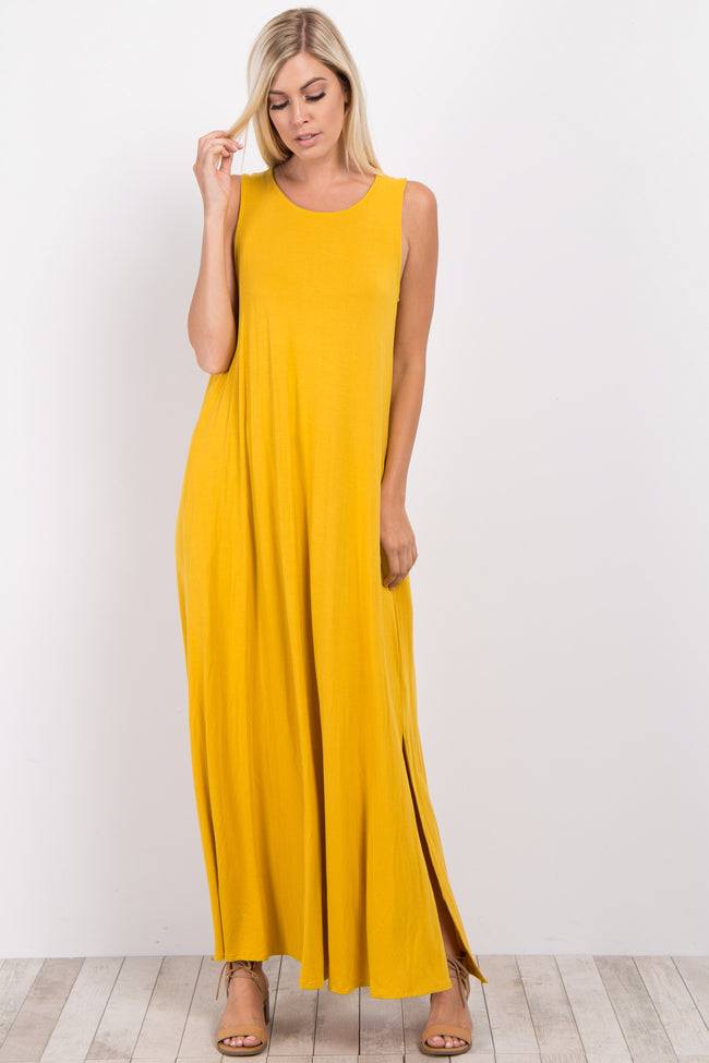 Yellow Solid Sleeveless Maxi Dress