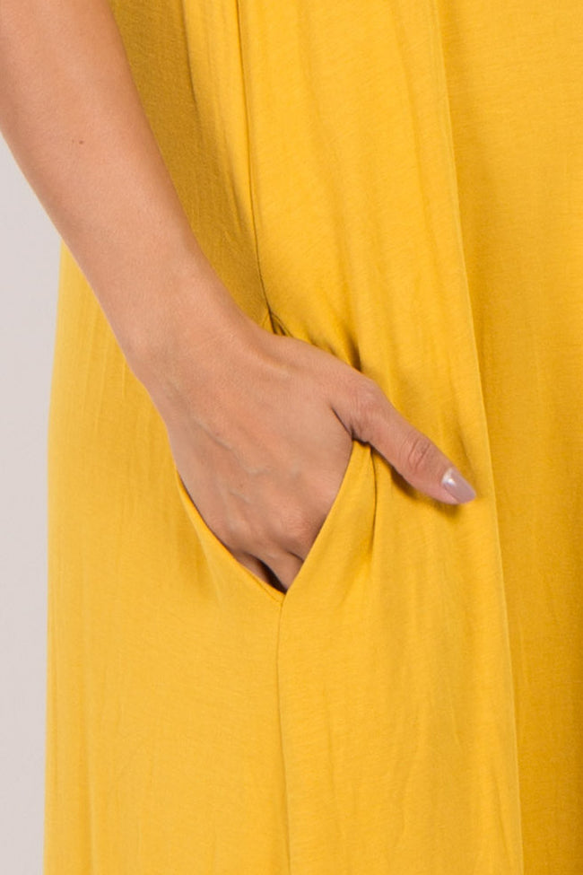 Yellow Solid Sleeveless Maternity Maxi Dress