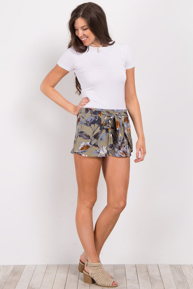 Olive Hibiscus Floral Flounce Tie Shorts