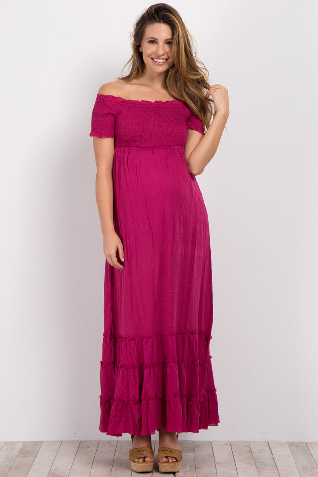 Magenta Off Shoulder Smocked Maternity Maxi Dress
