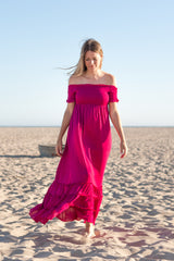 Magenta Off Shoulder Smocked Maxi Dress